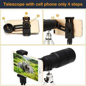 عدسة تلسكوب عالية الدقة قابلة للتركيب على أي هاتف جوال 16X52 HDSGODDEMonocular Telescope