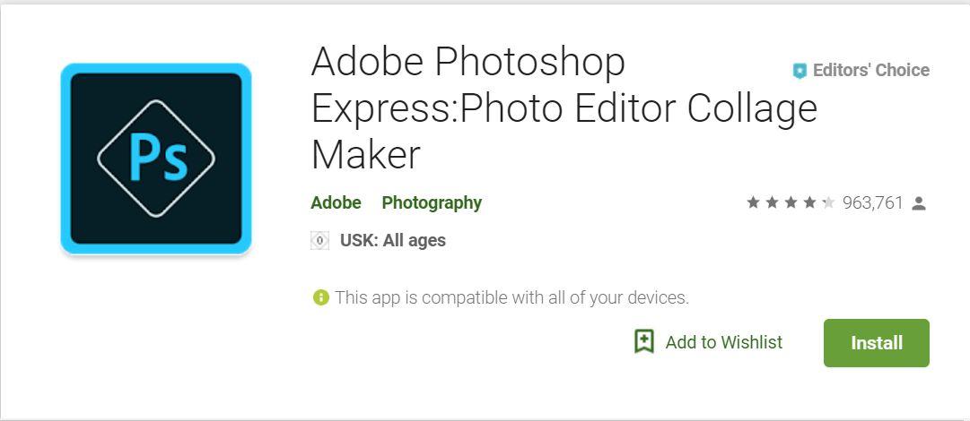 تحميل تطبيقAdobe Photoshop Expressفوتوشوب إكسبريس للأندرويد