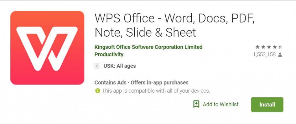 تنزيل تطبيق المستندات الأقوىWPS Office+PDF